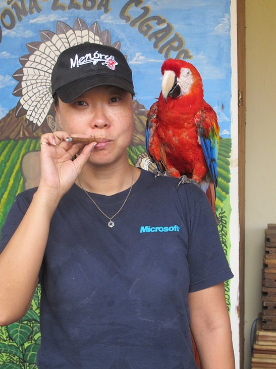 Parrot, Cigar, girl with cigar, Korean with Cigar and Parrot, travel, Nicaragua