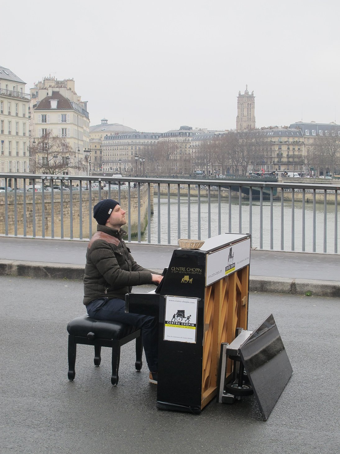 Paris, France, travel, piano player, Seine River