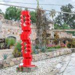 Red, ironwork sculpture