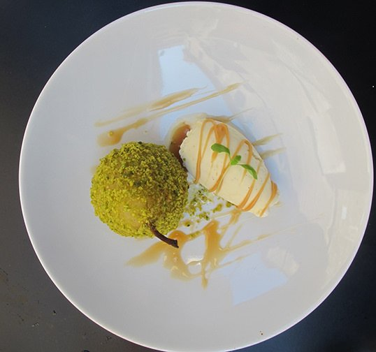 poached-pear-pistachios-and-ice-cream-dessert-fosh-kitchen-palma-mallorca