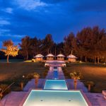 Night view of swimming pools